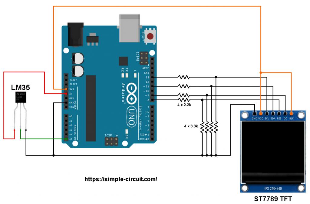 Arduino LM35 temperature sensor ST7789 TFT