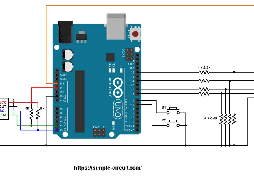 Arduino ST7789 TFT DS1307 RTC circuit