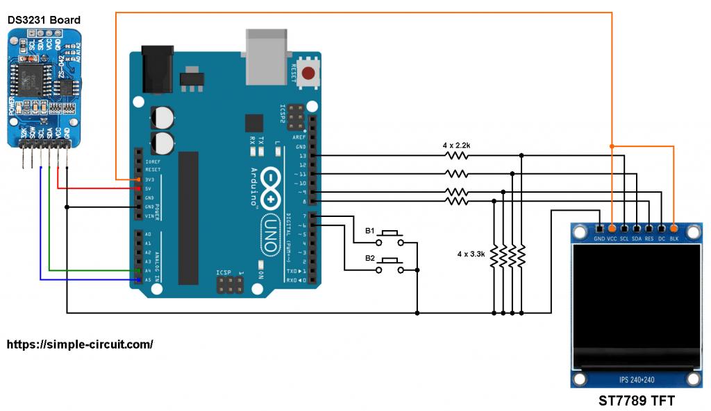 Arduino DS3231 RTC ST7789 TFT display