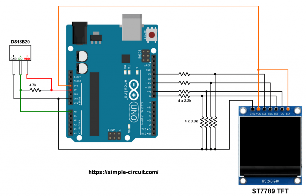 ST7789 TFT DS18B20 Arduino thermometer circuit