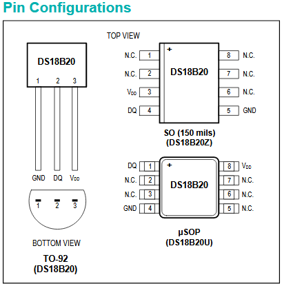 DS18B20 pin configuration