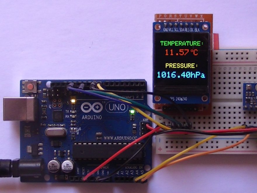 Arduino uno with BMP280 sensor and ST7789 TFT display