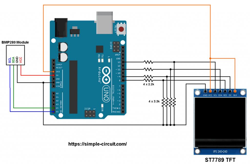 TFT ST7789 Arduino BMP280 pressure temperature sensor circuit
