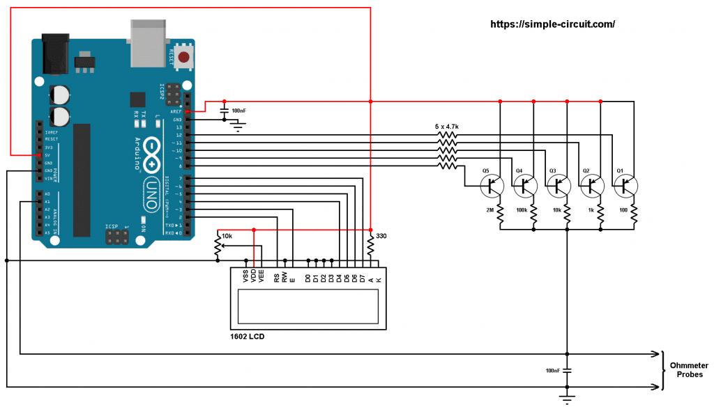 Arduino autorange ohmmeter 16x2 LCD circuit