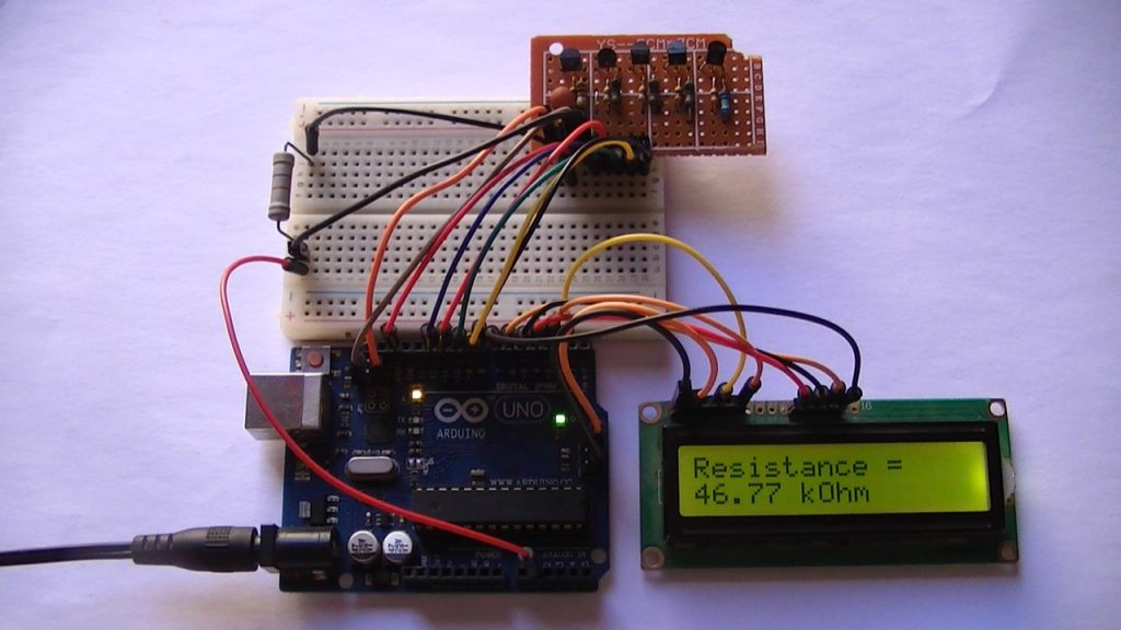 Arduino autoranging circuit with 16x2 LCD