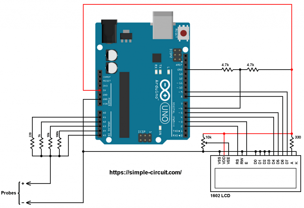 Arduino capacitance meter circuit with LCD