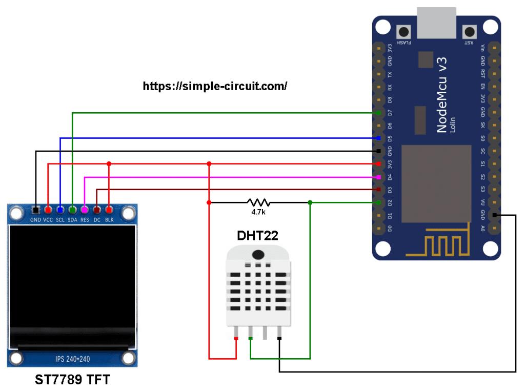 NodeMCU AM2302 DHT22 sensor ST7789 TFT