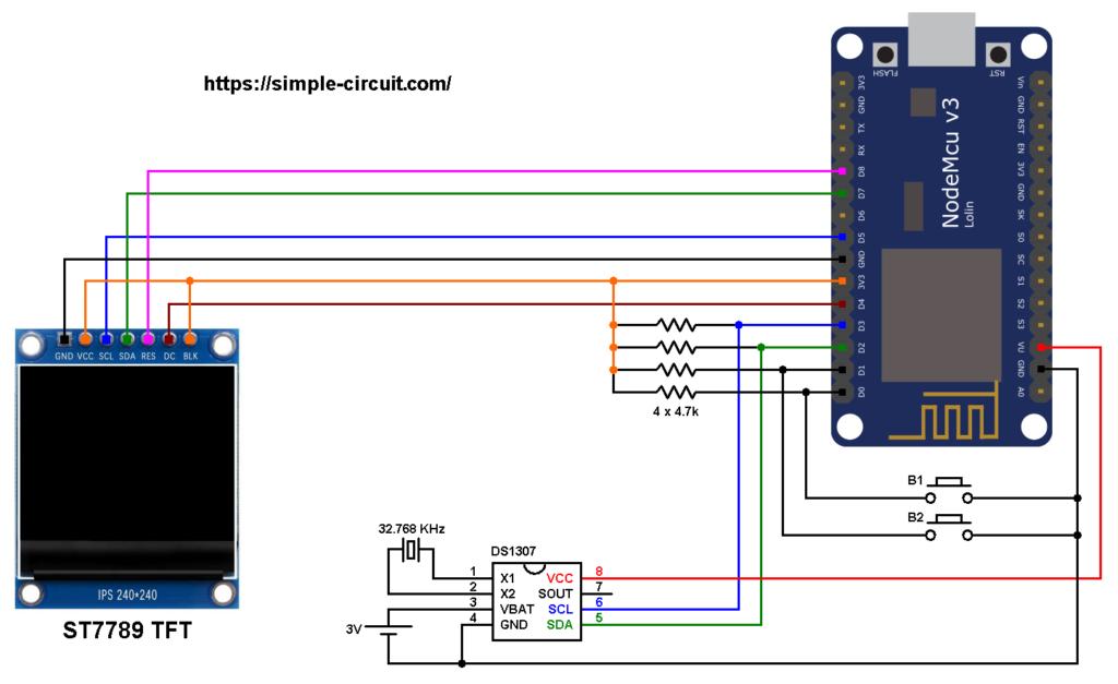 ESP8266 NodeMCU DS1307 RTC ST7789 SPI TFT