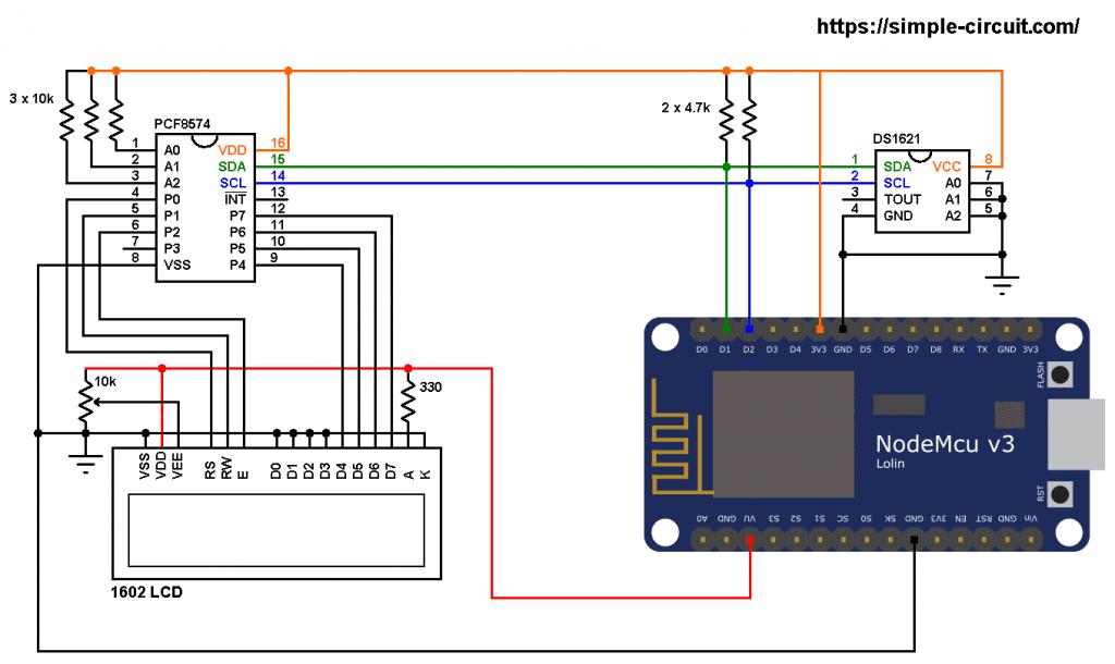 ESP8266 NodeMCU I2C LCD DS1621 sensor circuit