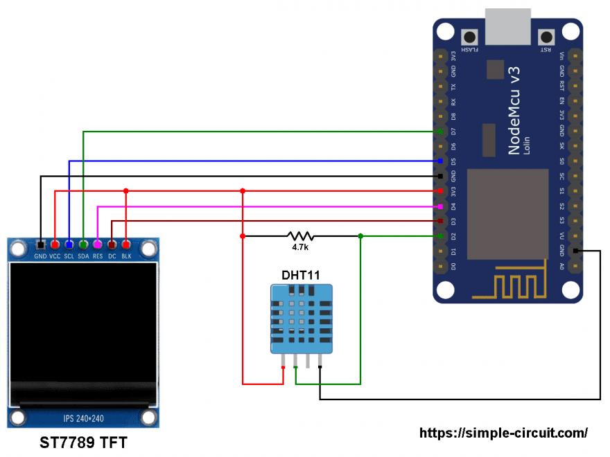 ESP8266 NodeMCU ESP12-E DHT11 sensor ST7789 TFT