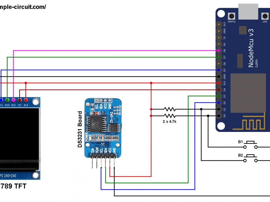 NodeMCU ESP8266 DS3231 RTC ST7789 TFT