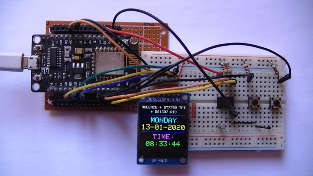 NodeMCU with ST7789 TFT display and DS1307 RTC