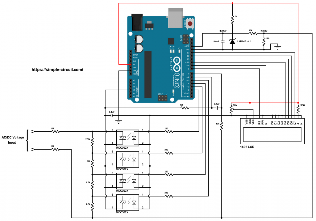 Arduino autoranging voltmeter with 1602 LCD circuit