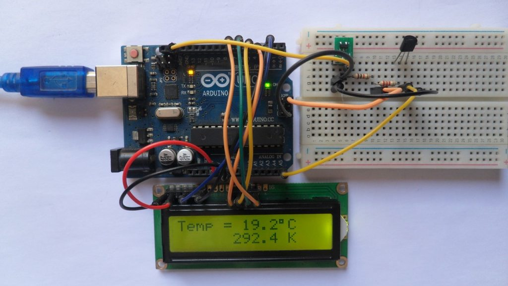 Arduino with LM335 temperature sensor and 1602 LCD