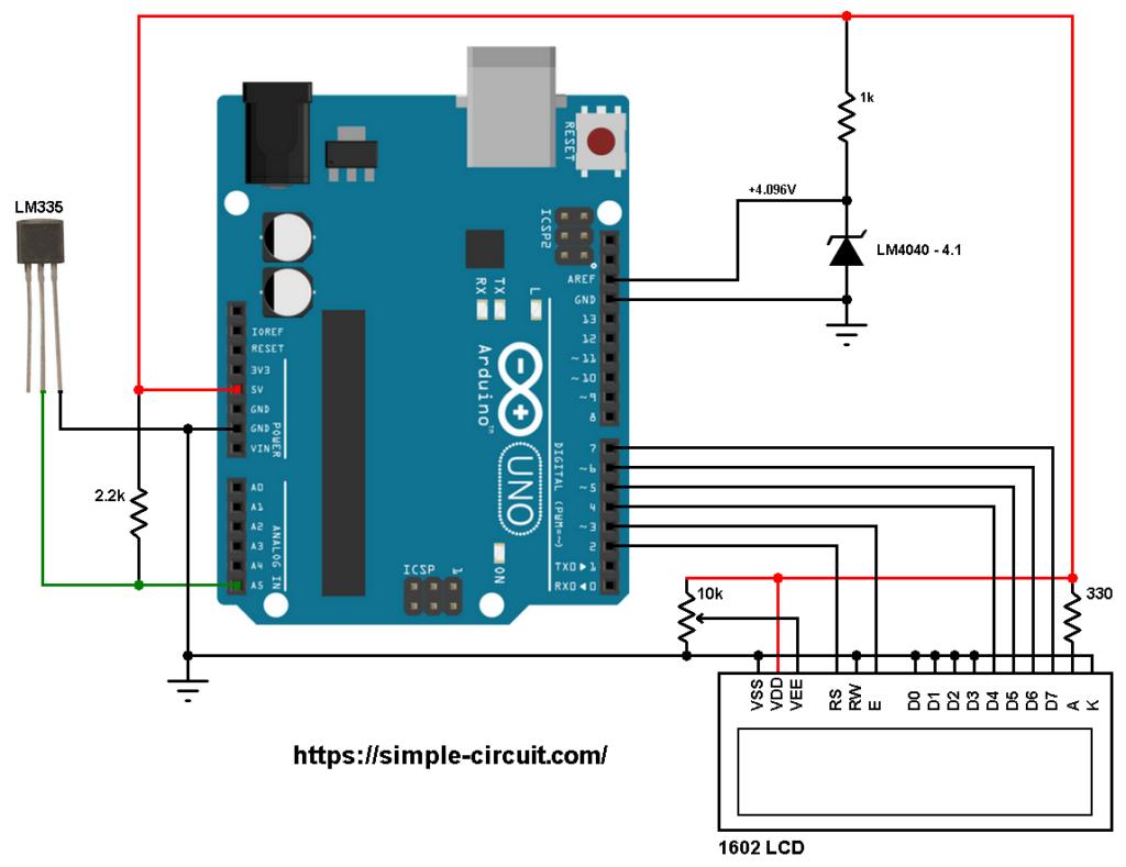 Arduino LM335 sensor LM4040 4.096V reference voltage circuit