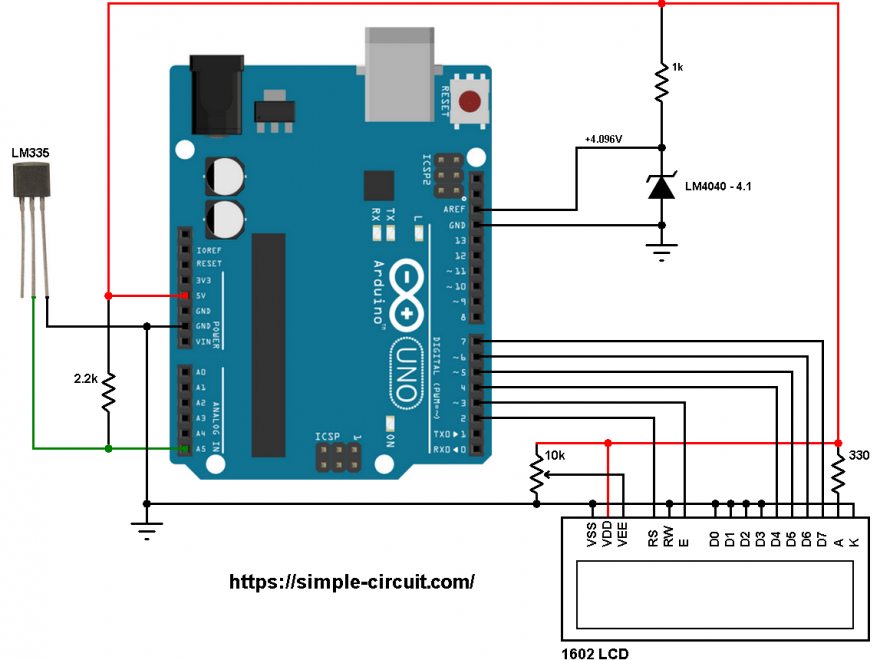 Arduino LM335 sensor LM4040 4.096V reference voltage circuit
