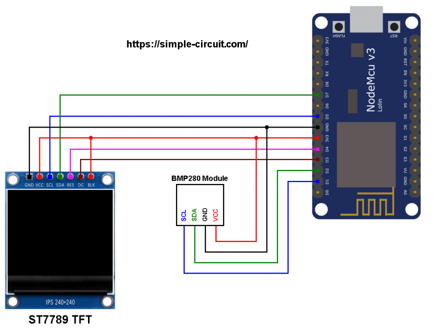 NodeMCU ESP8266 BMP280 sensor ST7789 color display circuit