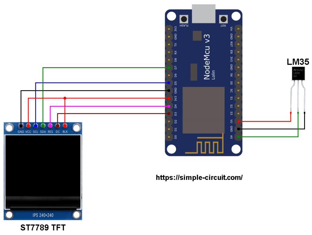 NodeMCU ESP8266 LM35 sensor ST7789 TFT display