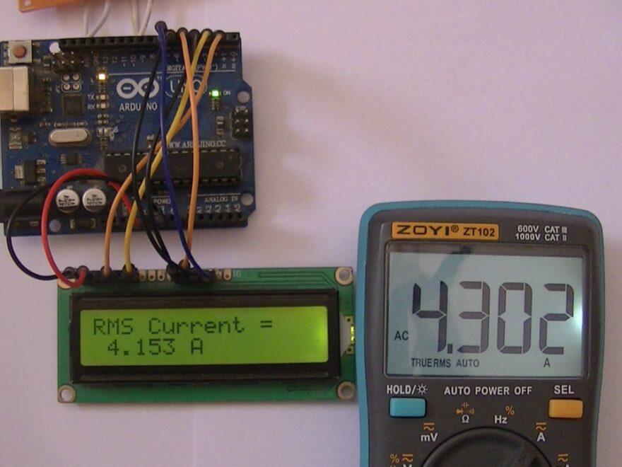 AC current measurement with Arduino and current transformer hardware circuit
