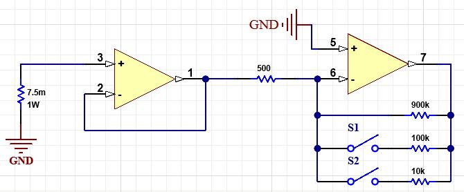 op amp gain control circuit