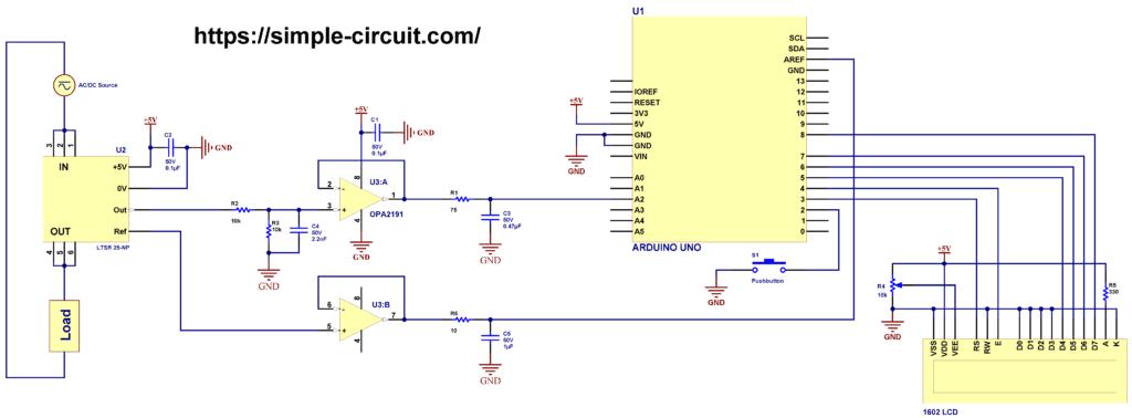 Current measurement using Arduino LTSR 25-NP sensor circuit