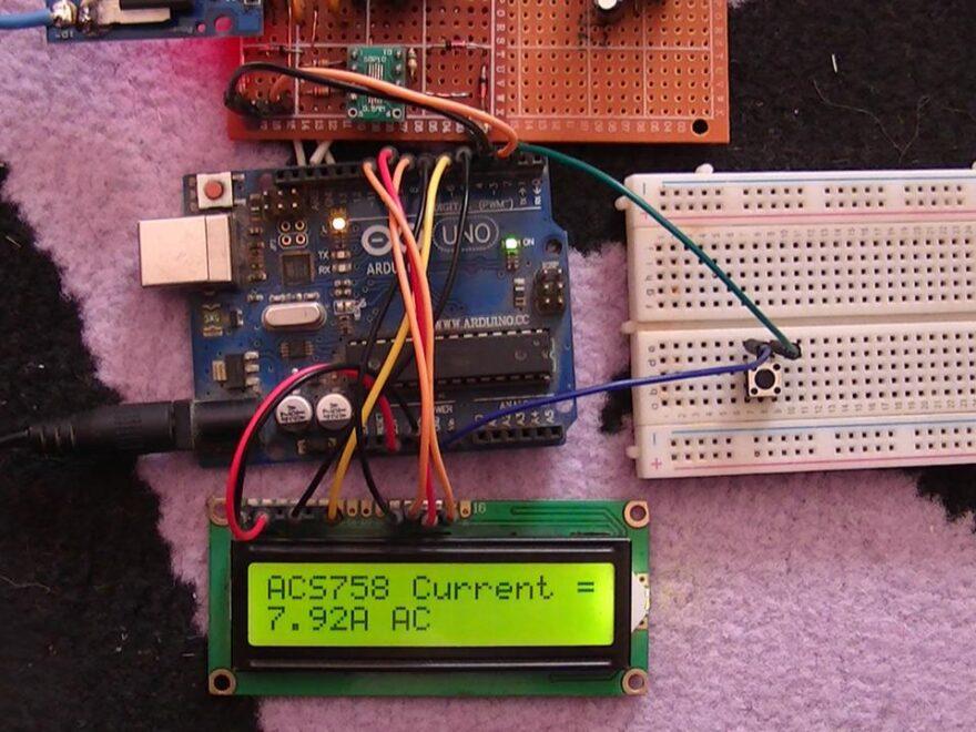 Interfacing Arduino with ACS758 ACS770 AC/DC current sensor hardware circuit